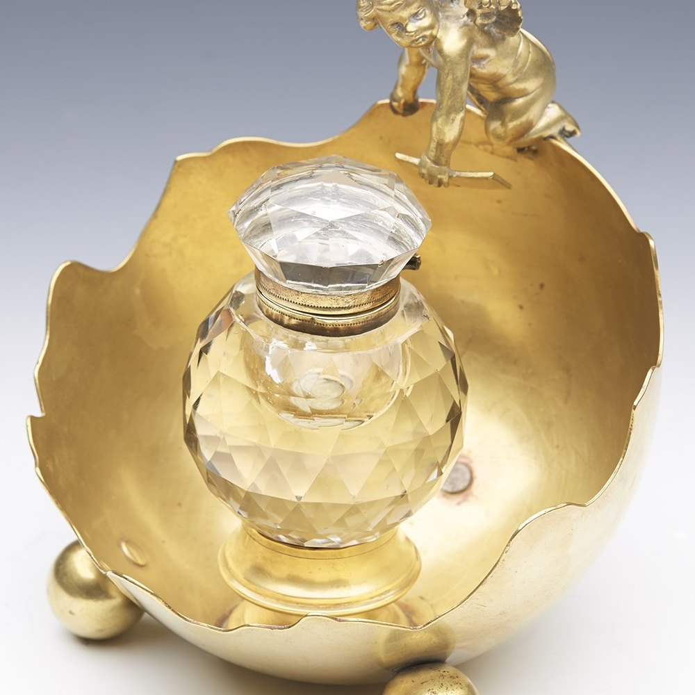 BRASS & CUT GLASS INKWELL 19th Century