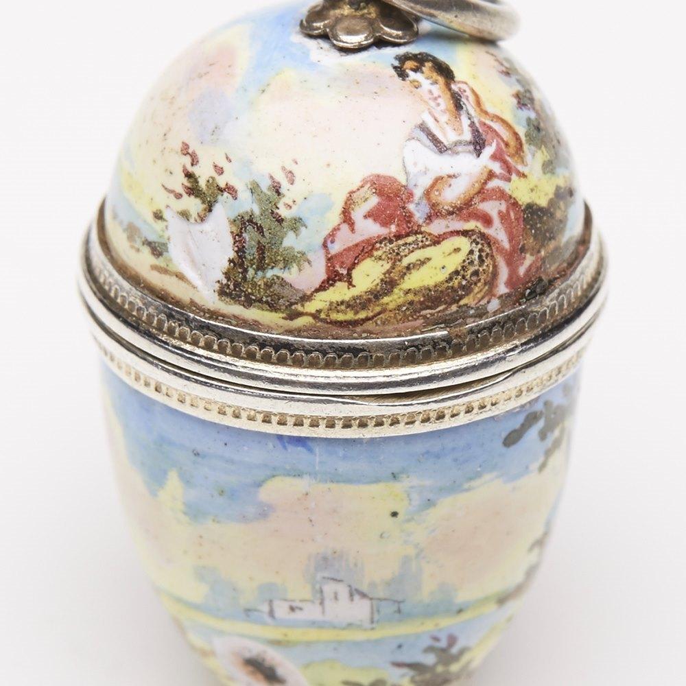 Very Fine Antique Simon Grunewald Vienna Enamel Egg Shaped Vinaigrette c.1870
