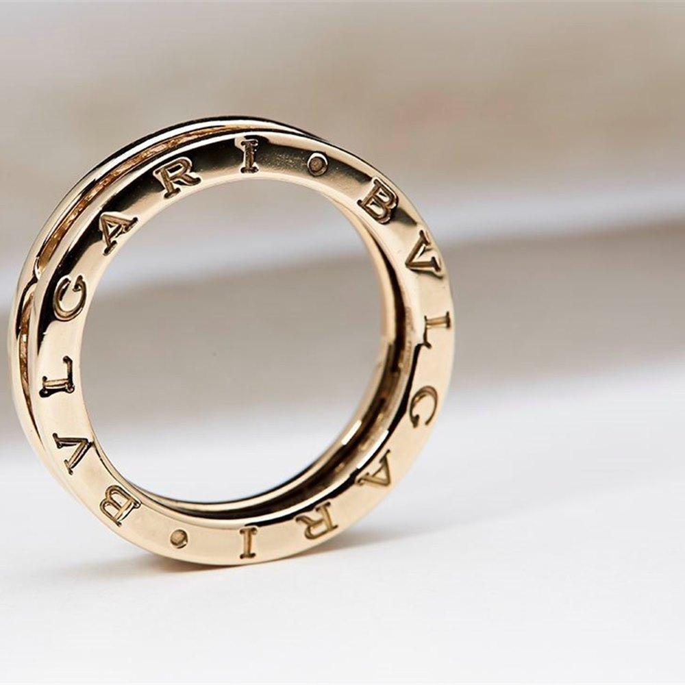 Bvlgari B Zero 1 18K Yellow Gold Diamond Ring Size 56