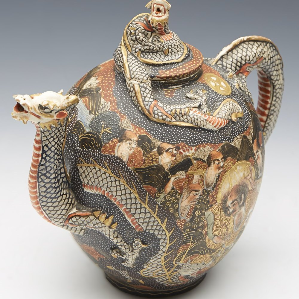 JAPANESE SATSUMA TEAPOT 19TH C. Meiji dating between 1868 and 1912