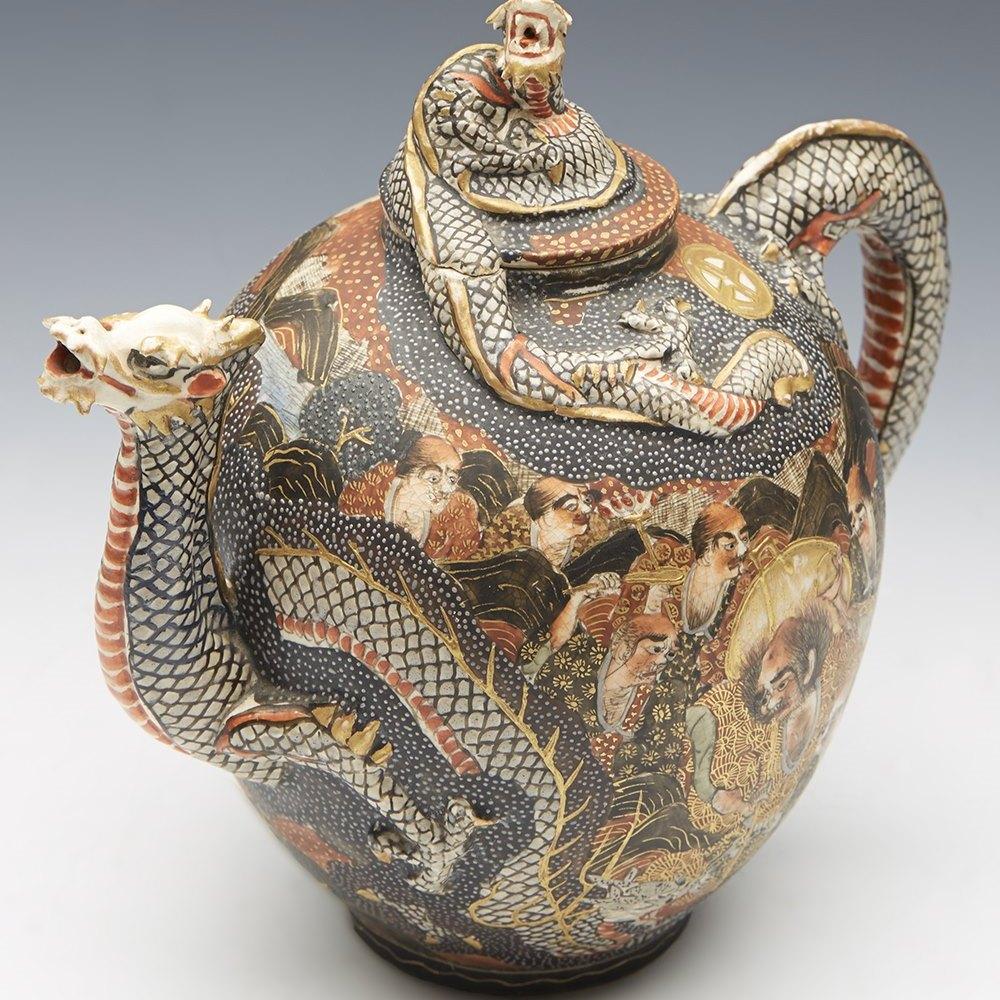 Fine antique Japanese Satsuma Meiji Kyoto Dragon & Holy Men Teapot 19th c.