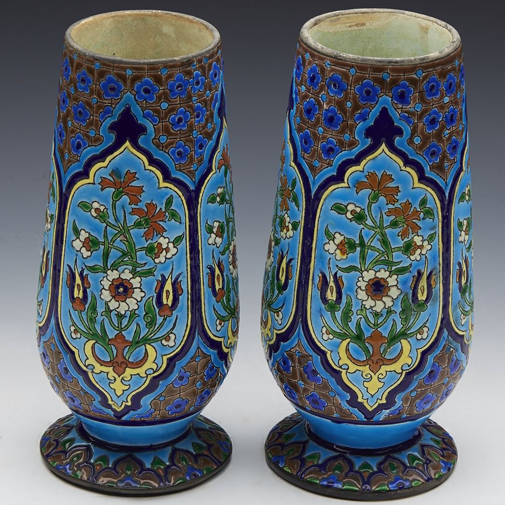 FRENCH MAJOLICA VASES 19TH C. 19th century