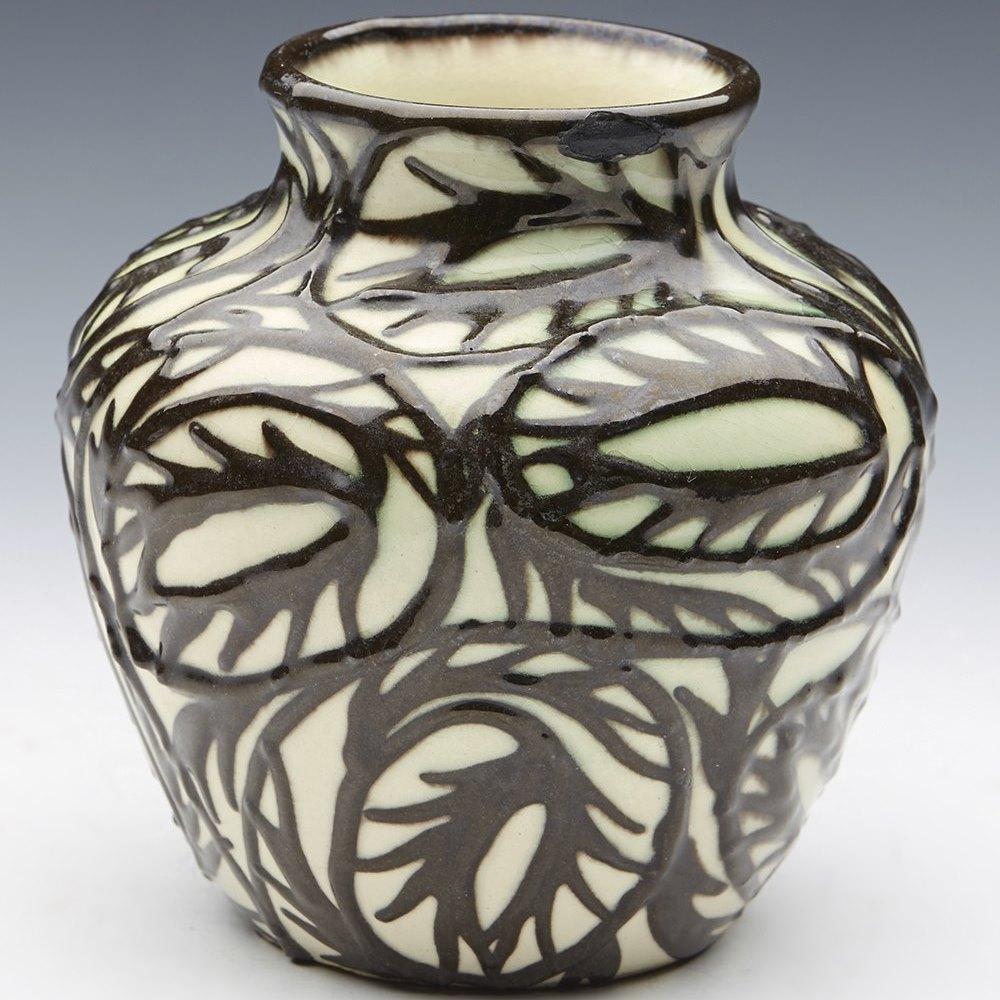 stunning max lauger karlsruhe slip trailed vase tc1408020 second hand art. Black Bedroom Furniture Sets. Home Design Ideas
