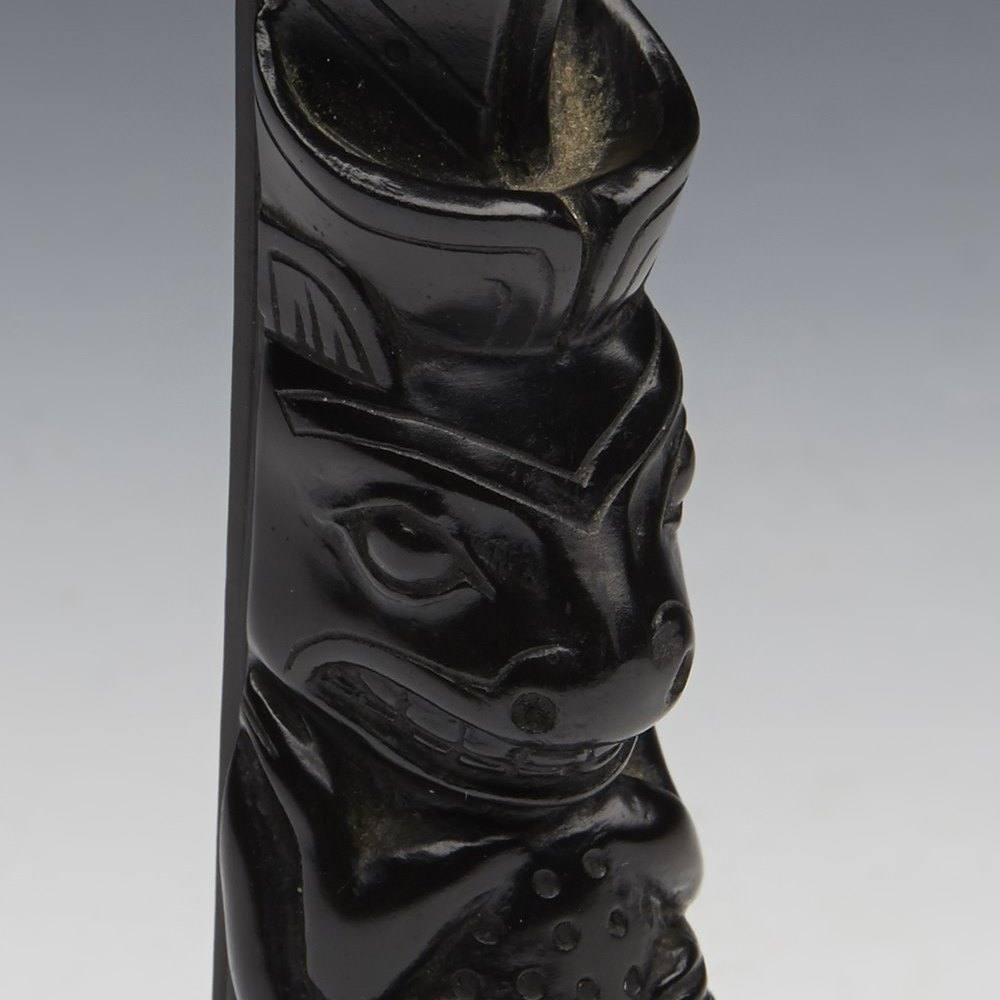 Fine Vintage American North West Haida Indian Argillite Totem Pole 20Th C.