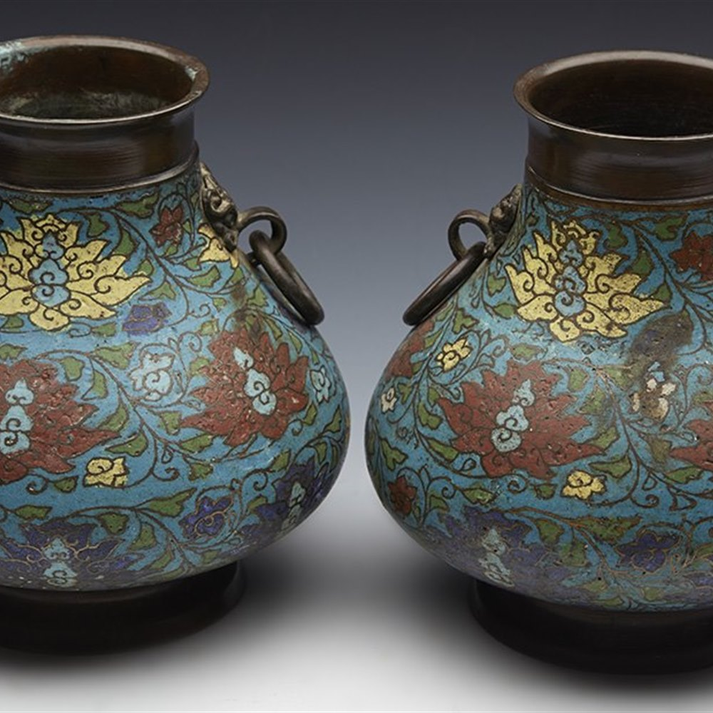 Stunning Pair Antique Chinese Champleve Enamel Twin Handled Bronze Vases 19Th C.