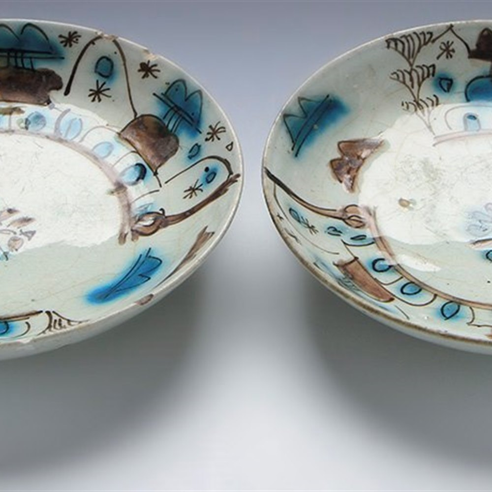 Unusual Pair Antique Isalmic Stylised Landscape Footed Bowls 17/18Th C.