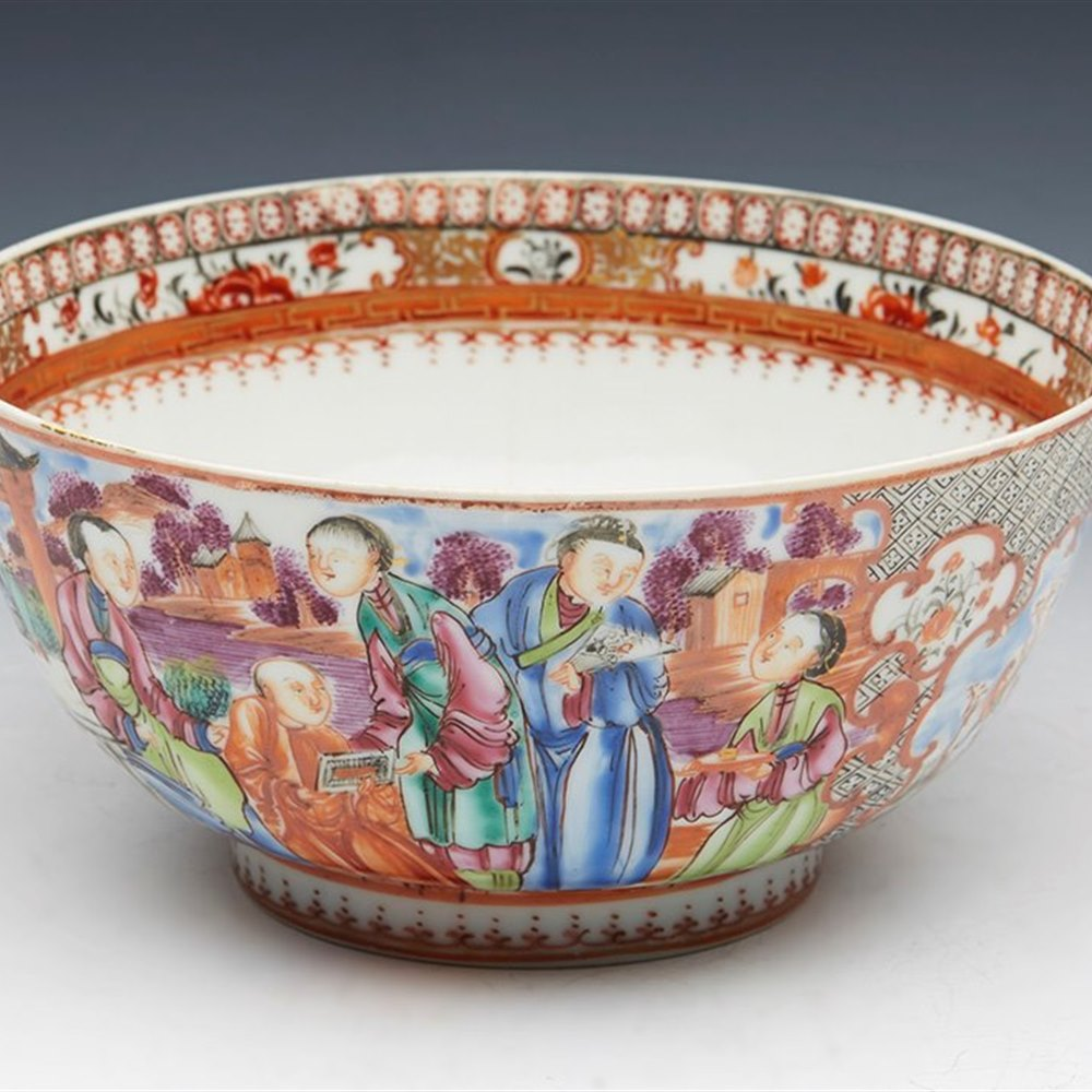 FINE ANTIQUE CHINESE MANDARIN HAND PAINTED FIGURAL BOWL 18TH C. Qianlong dating from the 18th century