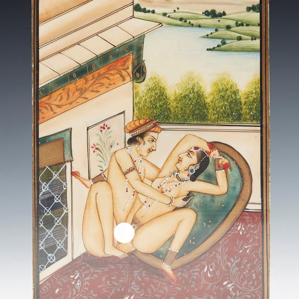 ANTIQUE SET OF 10 INDIAN KAMA SUTRA WATERCOLOURS ON IVORY c.1900 Believed to date from around 1900