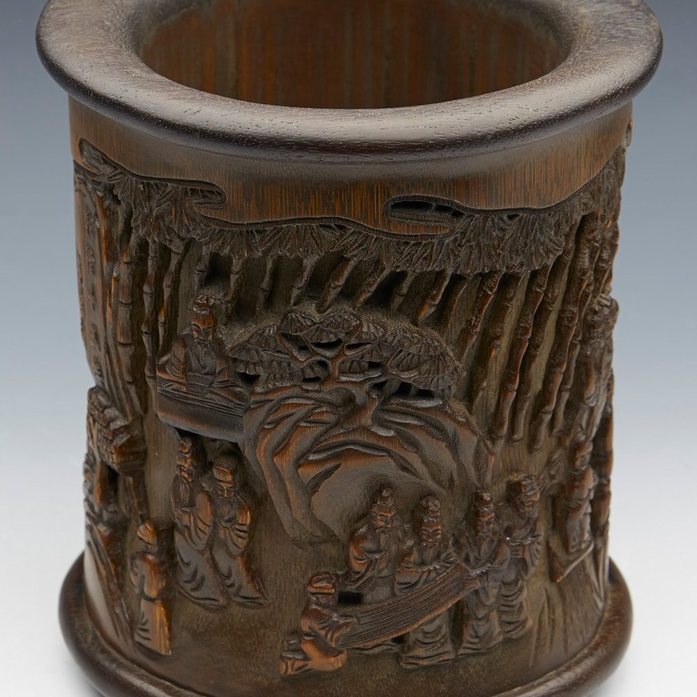 BAMBOO BRUSH POT 19TH C. Dated from the mid to late 19th Century