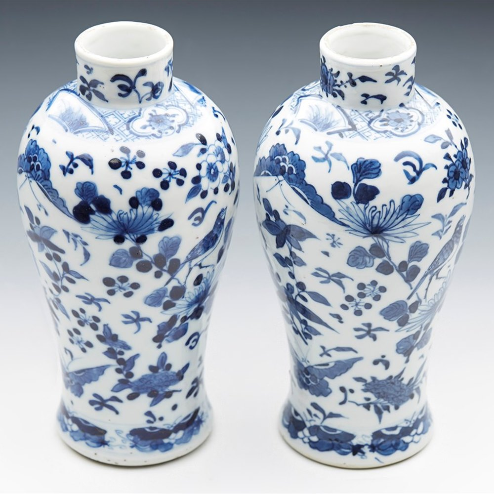 CHINESE KANGXI VASES 19TH C. Kangxi mark but dating from the 19th century