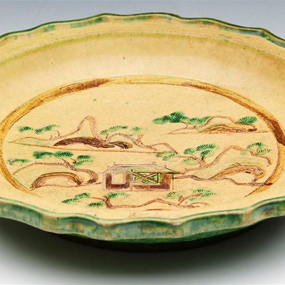 Unusual Antique Chinese Sancai Glazed Plate With Landscape 19Th C.