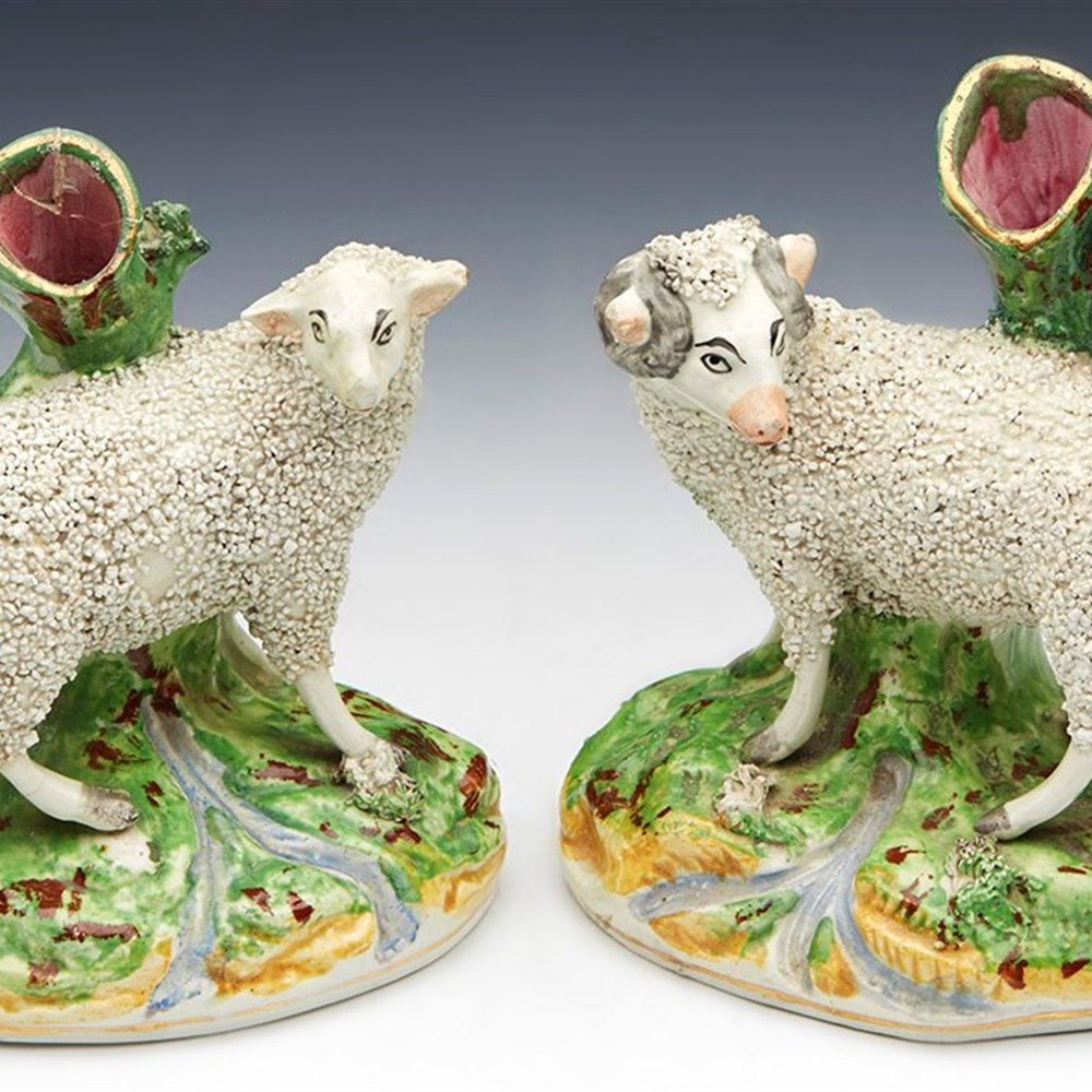 PAIR STAFFORDSHIRE SPILL VASES 19TH C. 19th Century