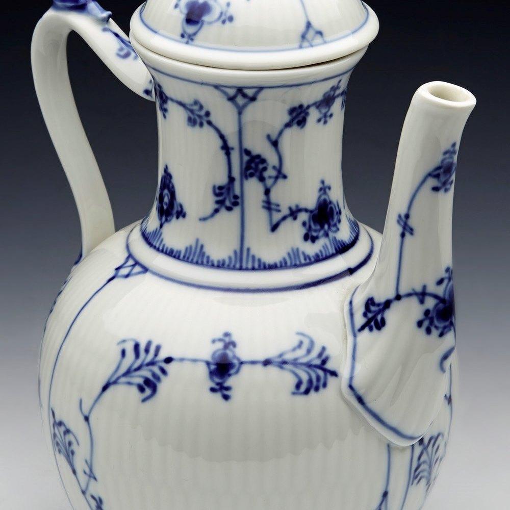 Fine Vintage Royal Copenhagen Blue Fluted Pattern Coffee Pot Dated 1966