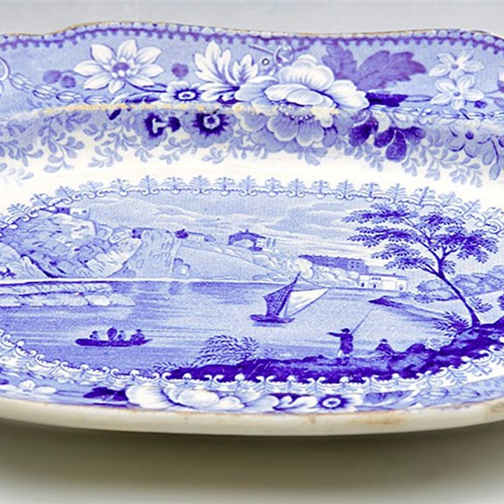 ANTIQUE POUNTNEY & ALLIES CLIFTON ROCKS BLUE & WHITE SERVING DISH c.1840