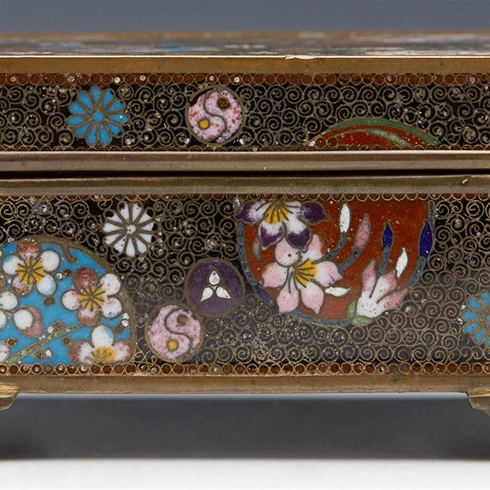 ANTIQUE ORIENTAL CLOISONNE LIDDED BOX WITH ROUNDELS 19TH C. 19th Century