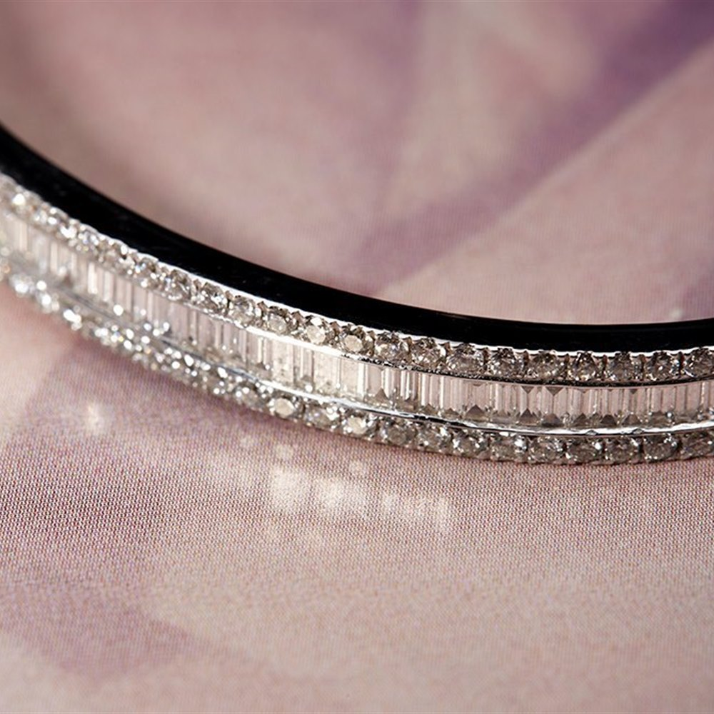 Goldsmiths 18k White Gold Baguette & Round Brilliant Cut 4.50cts Diamond Bracelet