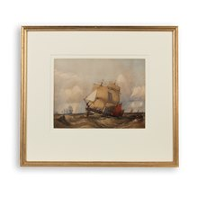 Original Charles Bentley 'Ships In Rough Seas' Watercolour Early 19Th C.