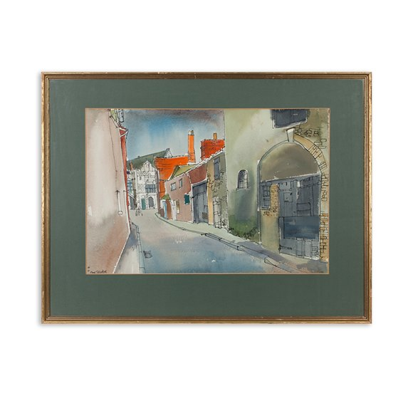 Irish Town Scene Watercolour Anne Tallentire 20Th C.