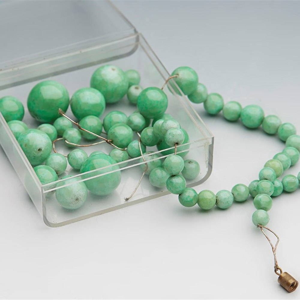 old ORIENTAL VINTAGE GREEN JADE BEADS NECKLACE 100