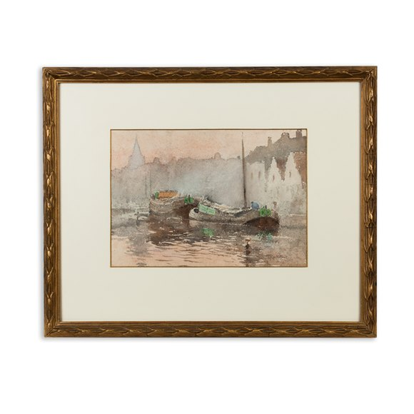Watercolour 'Impression Crépusculaire' Louis J Reckelbus 1864-1958