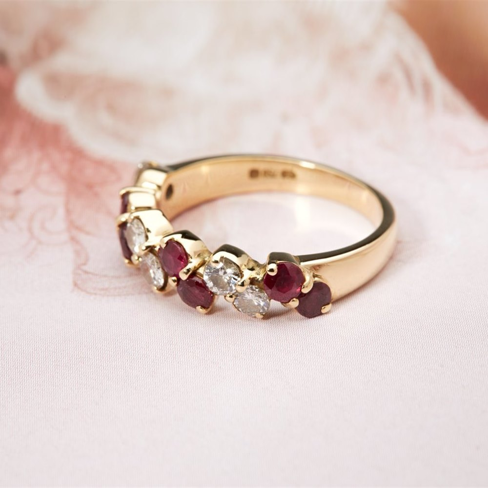 Kutchinsky 18K Yellow Gold 1.00cts Ruby and Diamond Half Eternity Ring